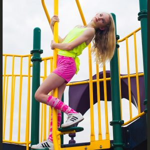 Adorable teen on playground