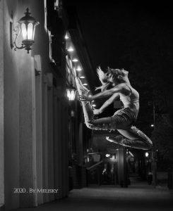 Dancer leaping on a Scranton Street